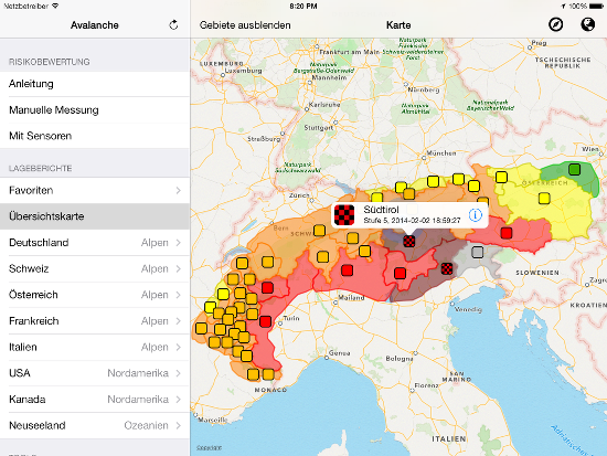 Avalanche Risk Level Map: Alps
